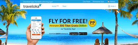 traveloka app, tiket gratis traveloka