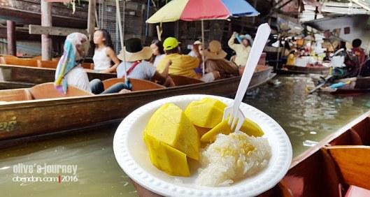mango sticky rice, kuliner thailand, thai culinary journey, Damnoen Saduak