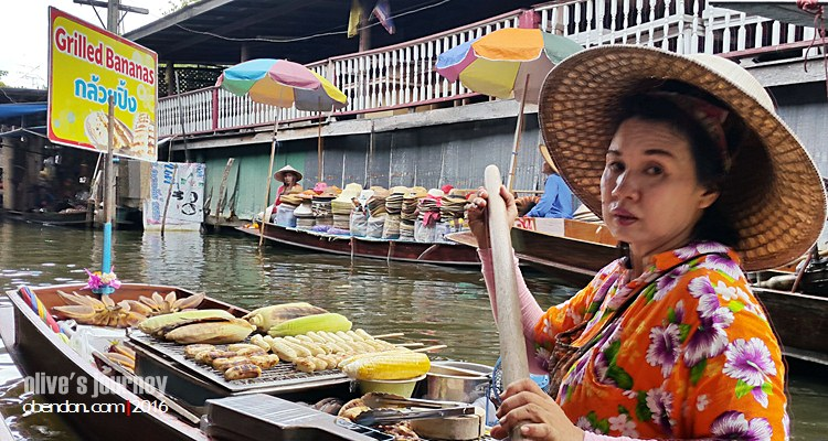 Damnoen Saduak Floating Market, pisang bakar thailand, kuliner thailand, thai culinary journey