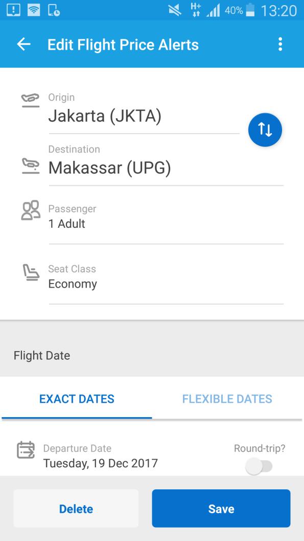traveloka price alerts, jadi bisa dengan traveloka