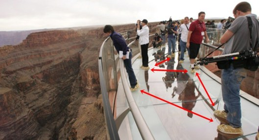 the grand canyon skywalk, cover shoes, glass walk