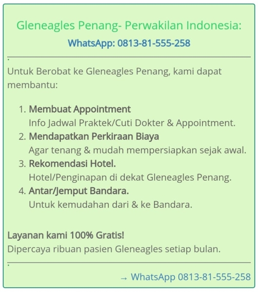 tripmedis indonesia, info dokter di penang, medical tourism, biaya berobat di gleneagles penang, medical check-up di gleneagles penang