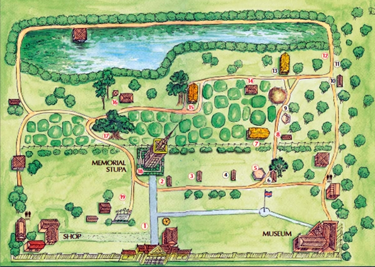 choeung ek, ladang pembantaian choeung ek, cara pergi ke choeung ek, map of choeung ek